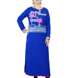 Woolen Royal Blue Embroidered Work Kurta