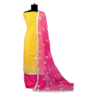 Yellow Magenta Hand Embroidered Gotta Work Maheshwari Suit With Gotta Embroidered Dupatta
