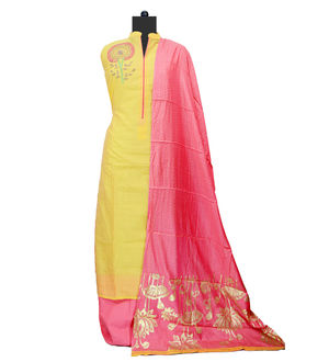 Yellow Magenta Maheshwari Suit With Modal Khadi Work Dupatta