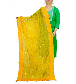 Yellow Silk Khadi Work Dupatta