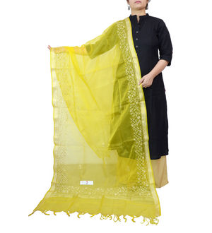 Yellow Tilla Work Silk Dupatta