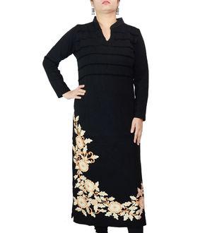 Woolen Black Embroidered Floral Kurta