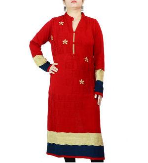 Woolen Red Beige Embroidered Kurta