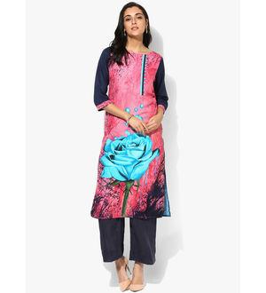 Shree Pink Blue Printed Rayon Kurta