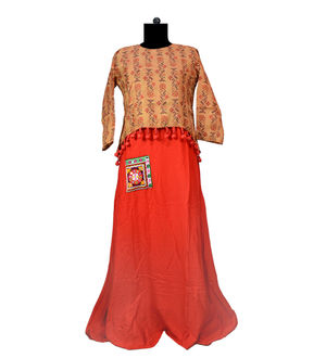 Red Cotton Embroidered Gown With Jacket