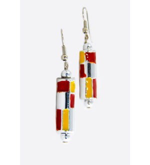 Red Yellow Metal Danglers And Drop
