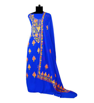 Royal Blue Kashmiri Aari Work Pure Georgette Suit With Dupatta