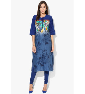 SHREE Cotton Blue Embroidered Printed Kurta