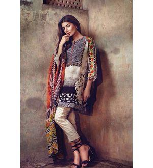 Beige & Black Pure Lawn Cotton Suit With Karachi Embroidery