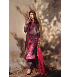 Black & Magenta Pure Lawn Cotton Suit With Karachi Embroidery