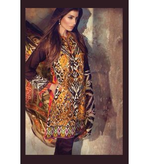 Brown Multi-Color Pure Lawn Cotton Suit With Karachi Embroidery