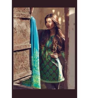 Green & Black Pure Lawn Cotton Suit With Karachi Embroidery