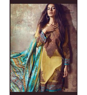 Green & Brown Pure Lawn Cotton Suit With Karachi Embroidery
