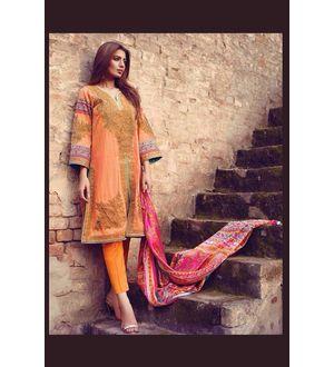 Orange Multi-Color Pure Lawn Cotton Suit With Karachi Embroidery