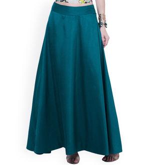 Sea Green Silk Long Skirt
