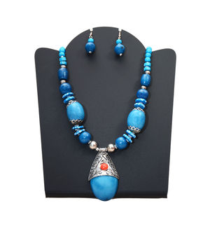 Sky Blue Handmade Tribal Necklace With Earrings