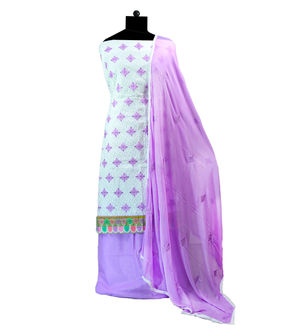 White Purple Cotton Embroidered Suit With Embroidered Dupatta