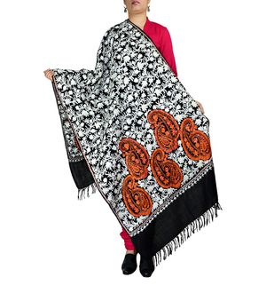 Black Kashmiri Tilla Work and Aari Work Pashmina Shawl
