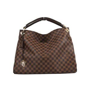 L V BROWN CHECK WIDE HANDBAG
