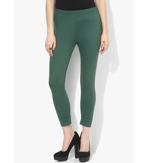 Dark Green Cotton Slim Fit Legging
