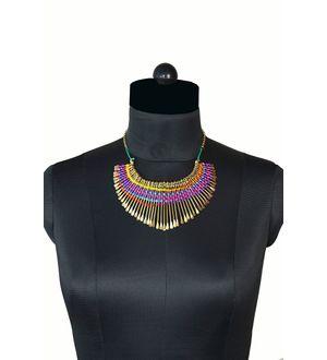 Precious golden necklace with thread work