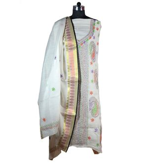 Off White Kantha Work Cotton Suit