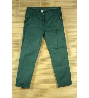 green embroidered slim fit Trouser