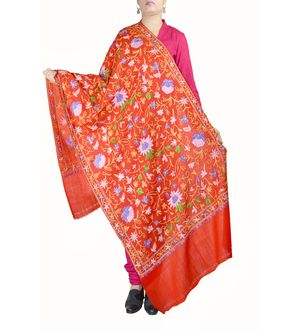 Red Pure Wool Kashmiri Stole With All Over Traditional Aari Work