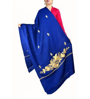 Blue Pure Agora Wool Kashmiri Aari Work Shawl