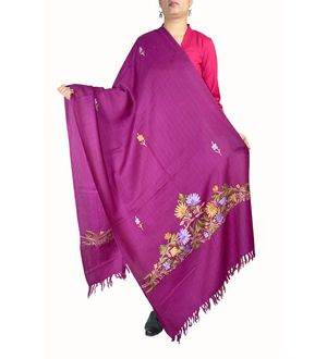 Purple Pure Wool Kashmiri Aari Work Stole