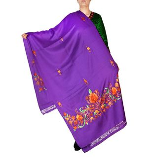 Purple Pashmina Aari Work Kashmiri Shawl