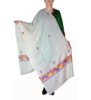 Off White Pashmina Aari Work Kashmiri Shawl