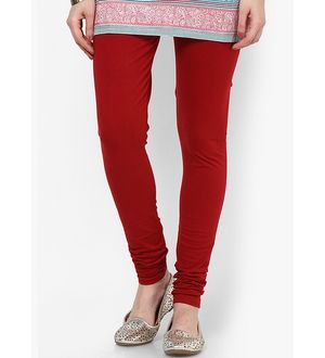 Maroon Cotton Slim Fit Legging
