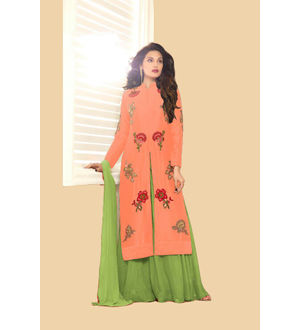 Peach Green Color Glace Cotton Embroidered Top With Dual Bottom Bangalori Skirt
