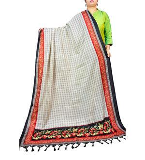 Bhagalpuri Silk Beige Printed Formal Dupatta