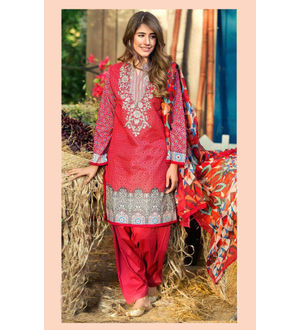Pakistani Cambric Cotton Red Color Digital Printed Suit With Embroidery And Chiffon Dupatta