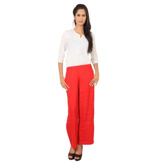 Solid Red Straight Cotton Palazzo