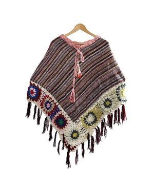 Stylish warm and light weight multicolor woolen handwoven cover up