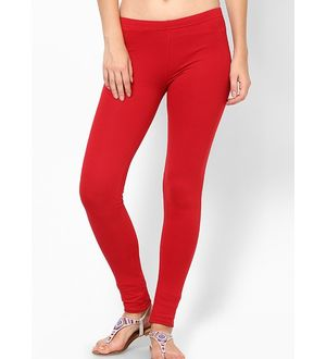 Red Cotton Slim Fit Legging