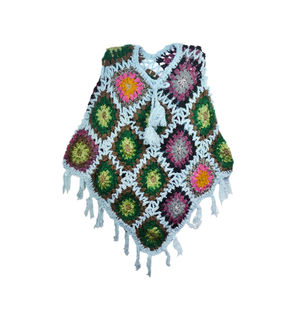 Sky Blue Multi Color Woolen Handwoven Poncho