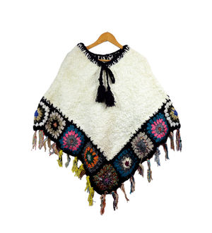 Yak Wool Black Multicolor Handwoven Poncho