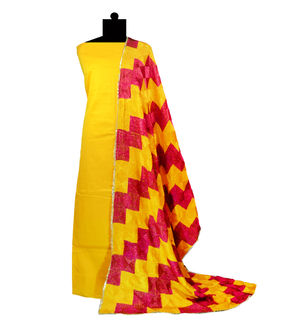 Phulkari Yellow Maroon Red Cotton Self Printed Suit With Full Jaal Phulkari Dupatta