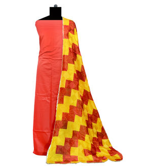 Phulkari Red Yellow Cotton Self Printed Suit With Full Jaal Phulkari Dupatta