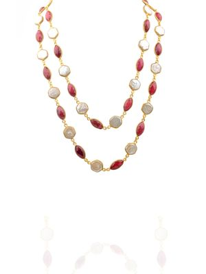 Gold Plated Red Coral And Mother Of Pearl Detachable Necklace
