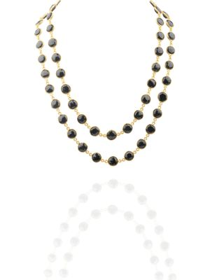 Gold Plated Black Onyx Detachable Necklace