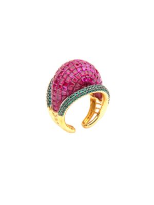 Gold Plated Ruby Cocktail Ring