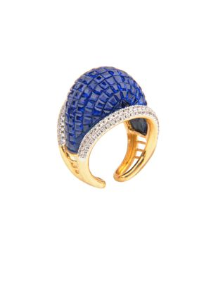 Gold Plated Blue Cocktail Ring