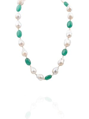 Semi Precious Baroque Pearls And Emerald Necklace