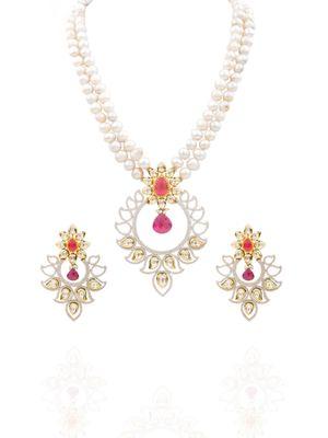 Gold Plated Zircon Studded Kundan Necklace Set