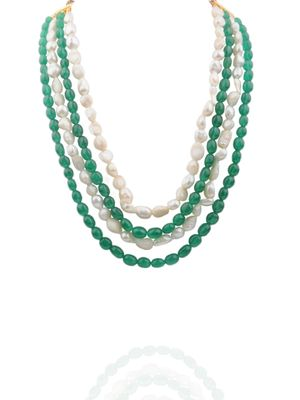Semi Precious Emerald And Fresh Water Pearl Necklace